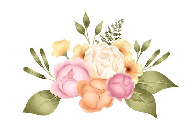 Retro ramo de flores de peonía