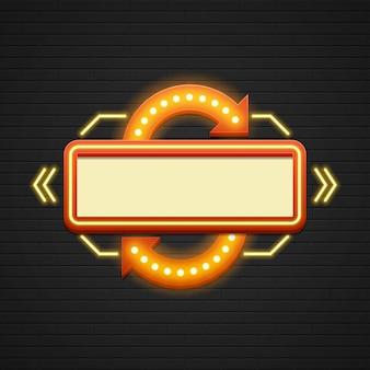 Retro showtime signo venta cine cartelería bombillas marco y lámparas de neón