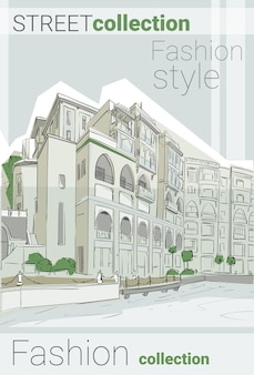 Retro sketch city fashion street colección ropa estilo