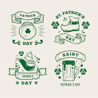 Retro st. colección de insignias del día de patrick