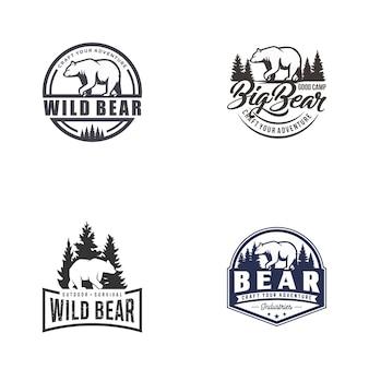 Retro vintage bear logo vector conjunto de plantillas
