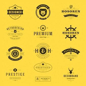 Retro vintage etiquetas o logotipos conjunto de elementos de diseño vectorial