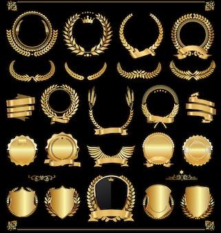 Retro vintage etiquetas de oro y banners colección vector