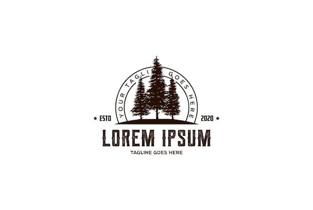 Retro vintage hipster pino abeto cedro perenne conífera conífero alerce ciprés cicuta árbol bosque diseño de logotipo vector