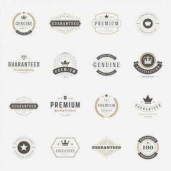 Retro vintage insignias o logotipos establecer elementos de diseño vectorial