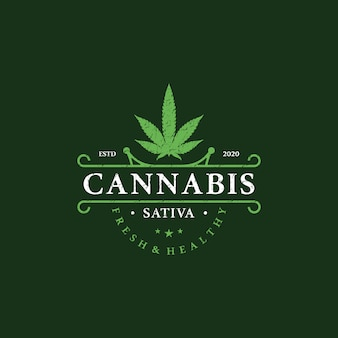 Retro, vintage, logotipo de marihuana medicinal de salud de marihuana