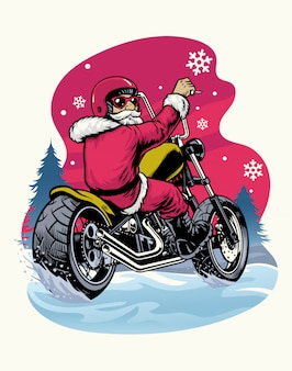 Retro vintage santa claus montando motocicleta chopper