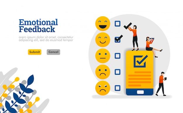 Retroalimentación emocional con emoticonos y listas de verificación.