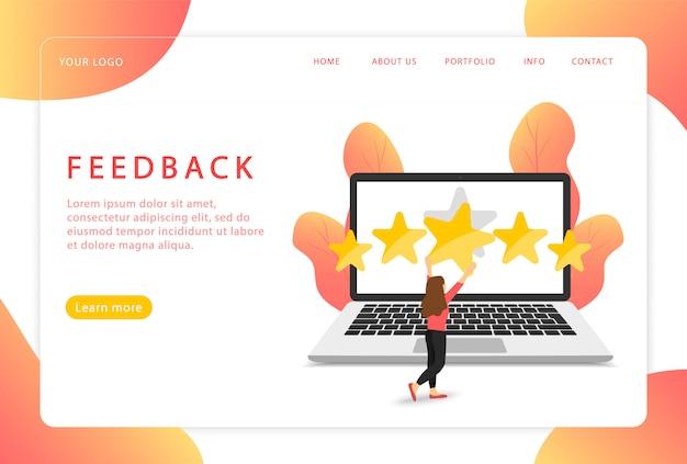 Retroalimentación. revisión del cliente página de destino. páginas web modernas para sitios web.