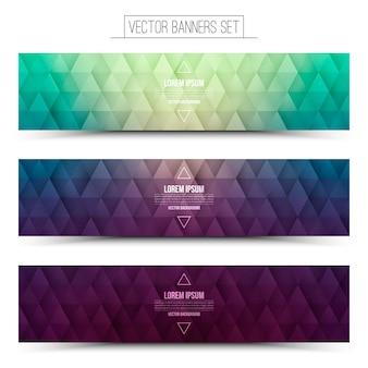 Retrowave 3d vector retro web banners set