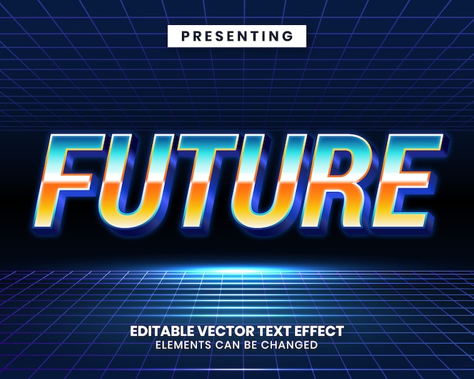 Retrowave efecto de texto editable futurista