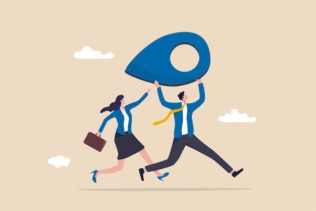 Reubicación de empresas mudando la oficina al nuevo concepto de dirección de ubicación.