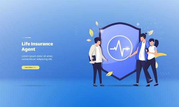 Reúnase con agentes de seguros de vida para conceptos de ilustración de salud
