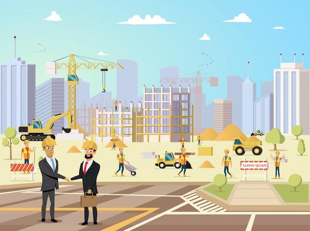 Reunión de acuerdo de socio y contratista en la construcción de edificios
