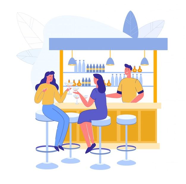 Reunión de amigos en el bar de alcohol y el barman sirven bebidas
