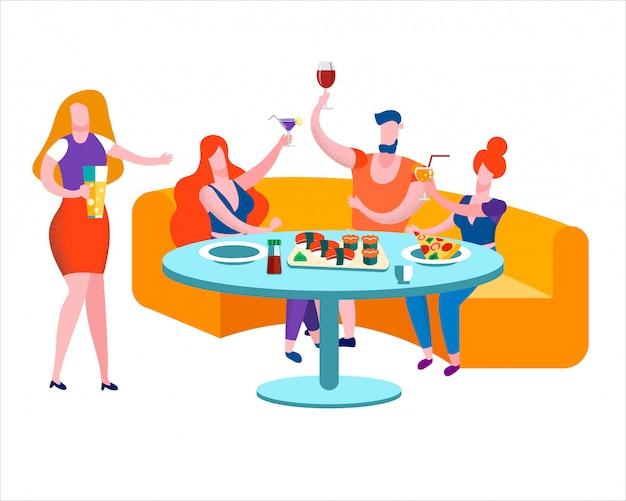 Reunión de amigos y fiesta de celebración en bar leisure