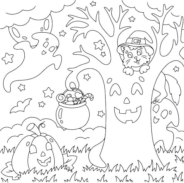 Reunión de amigos gato calabaza fantasma árbol mágico página de libro para colorear para niños tema de halloween