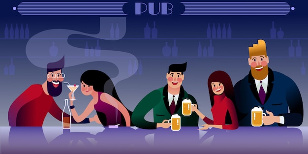 Reunión de amigos del milenio en el pub. ilustración plana