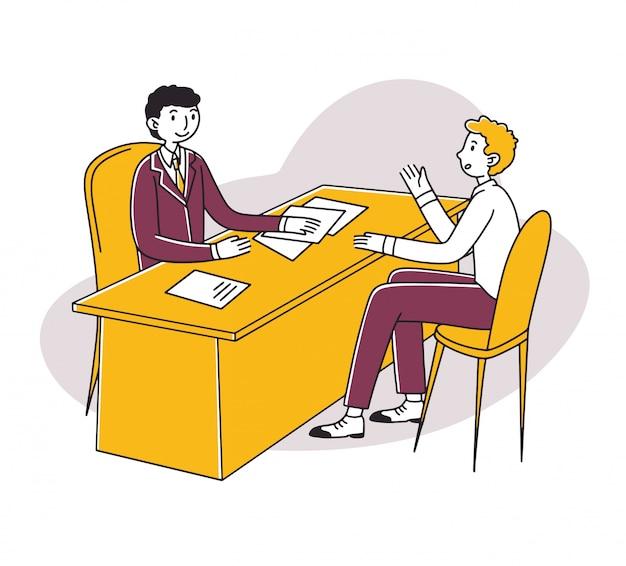 Reunión de candidato y gerente de recursos humanos para entrevista