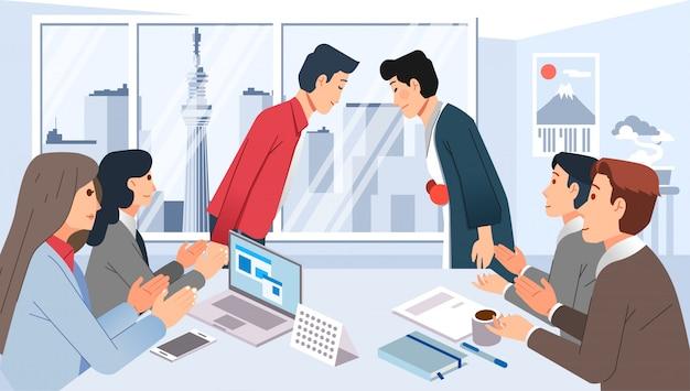 Reunión de cooperación empresarial con japón, personas reunidas en la sala de reuniones y dando ilustración de saludo
