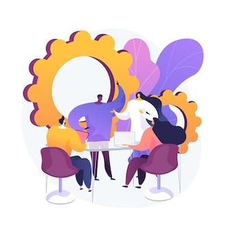 Reunión corporativa. empleados personajes de dibujos animados que discuten la estrategia comercial y planifican acciones adicionales. lluvia de ideas, comunicación formal, seminario.