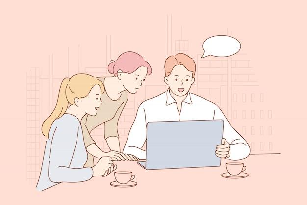Reunión, coworking, trabajo en equipo, análisis, concepto de liderazgo empresarial.