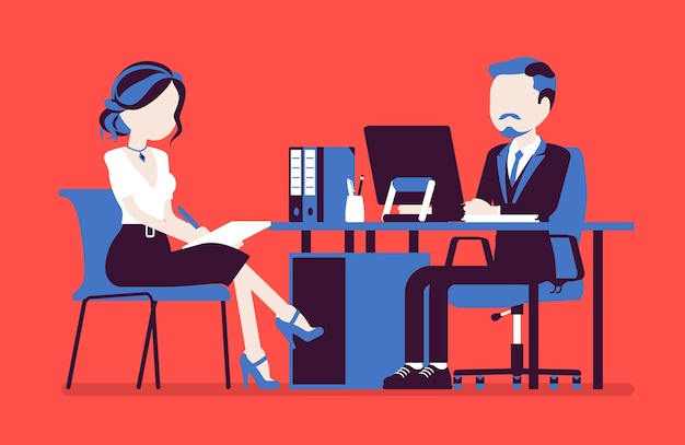 Reunión de dirección para dar información, instrucciones. jefe masculino, secretaria agradable en la sesión informativa diaria de negocios, ayudante de oficina ayuda, obtiene tareas. ilustración vectorial, personajes sin rostro