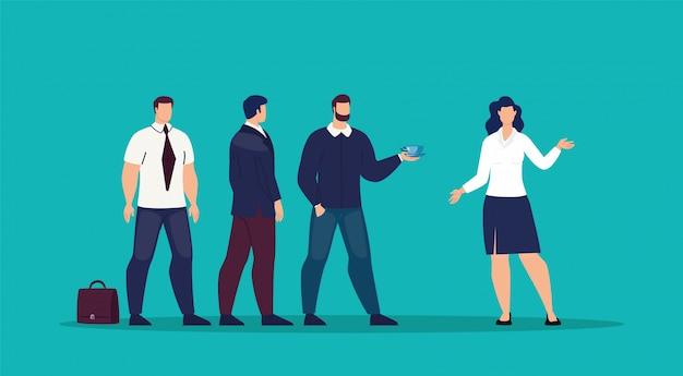 Reunión empresaria con socios plana