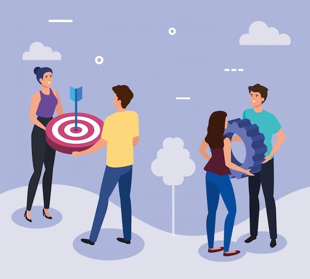 Reunión de empresarios con objetivo y equipo