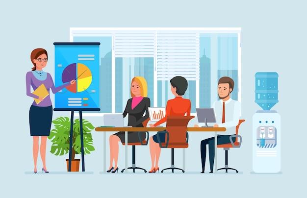 Reunión del equipo empresarial en la oficina. compañeros de personas en el gráfico de estrategia de proyecto de conferencia de presentación