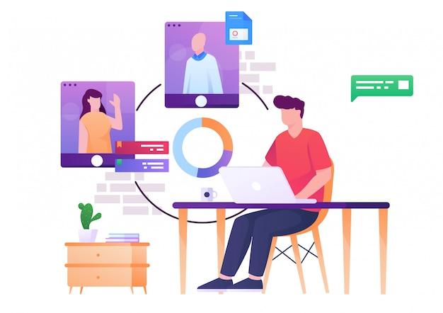 Reunión del equipo de ilustración plana en línea