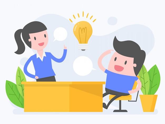 Reunión de equipo de negocios y lluvia de ideas.
