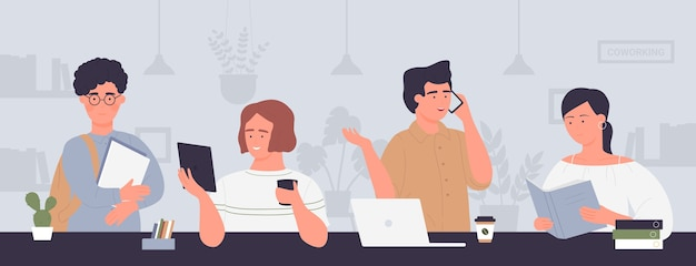 Reunión de gente de negocios creativa de dibujos animados