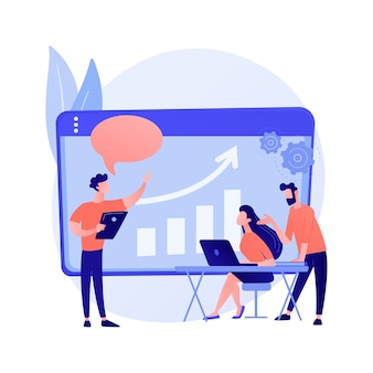 Reunión de gerentes. mentoría empresarial, conferencia de trabajadores, discusión de estrategia empresarial. empleados de enseñanza mentor