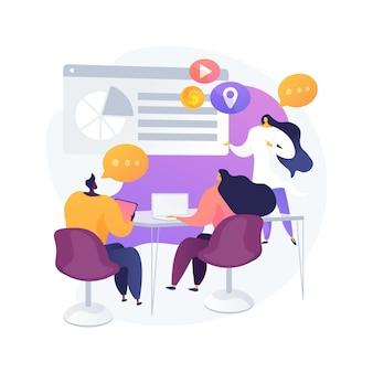Reunión de grupo. colaboración corporativa. compañeros de oficina. planificación de estrategias, discusión de conferencias, lluvia de ideas en mesa. organización de inicio. ilustración de metáfora de concepto aislado de vector.