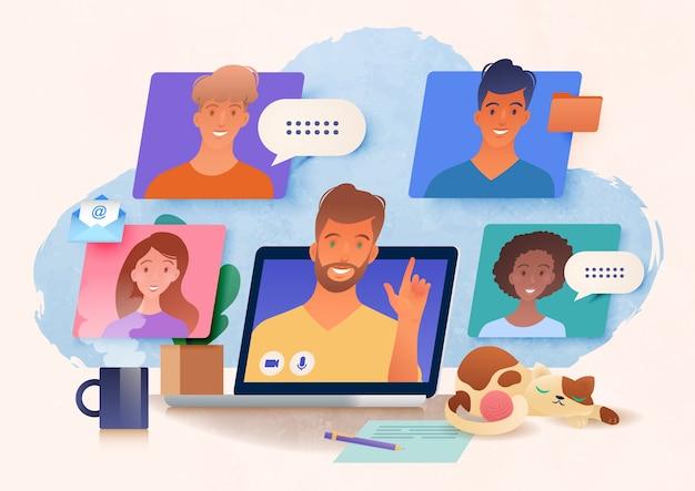 Reunión de grupo virtual que se lleva a cabo a través de videoconferencia desde casa usando una computadora portátil charlando con colegas en línea ilustración