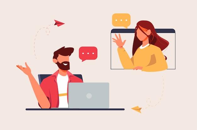 Reunión en la ilustración de la computadora portátil