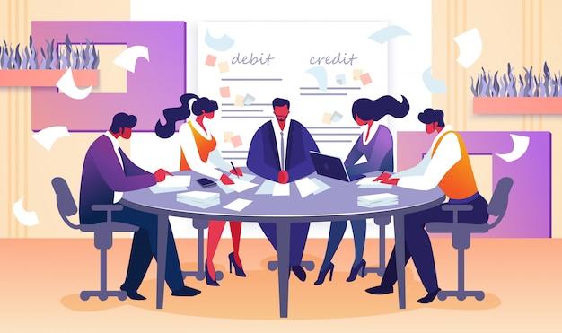Reunión de la junta de negocios de director y empleados.