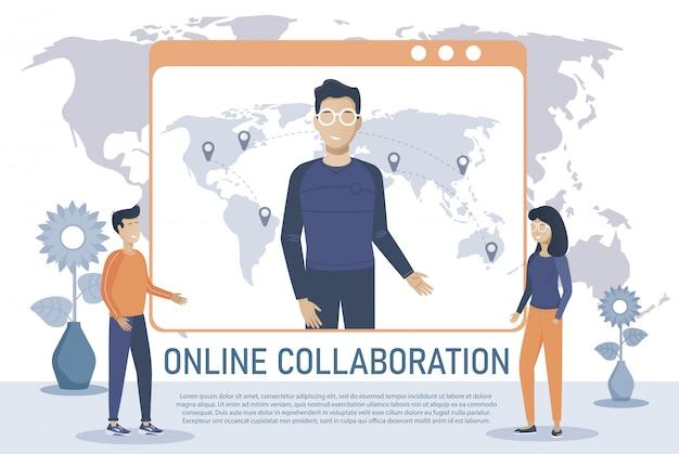 Reunión en línea. aterrizaje de videoconferencia. personas en la computadora y la pantalla del teléfono inteligente. reunión de trabajo virtual. ilustración plana