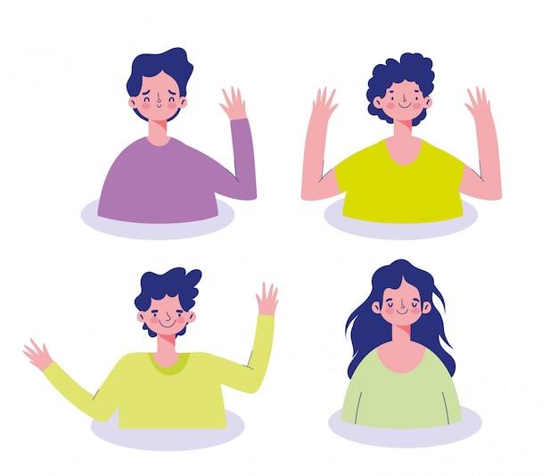 Reunión en línea, conjunto de avatar de personaje de dibujos animados de jóvenes