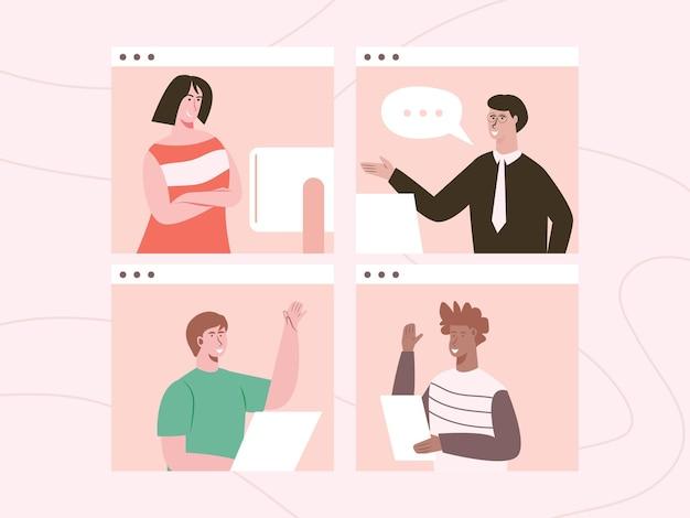 Reunión en línea los empleados trabajan desde casa a través de videoconferencias programadas.