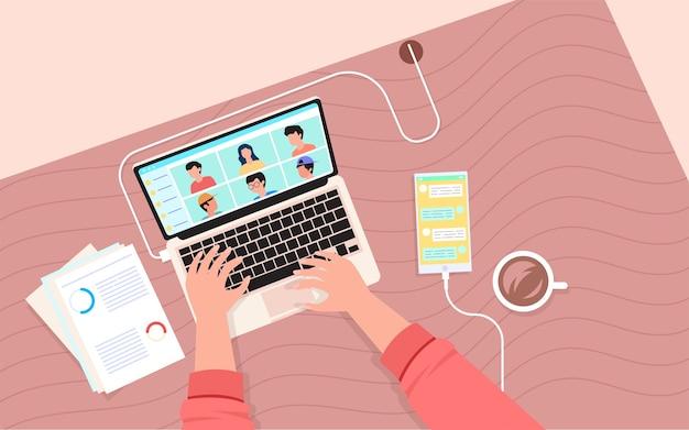 Reunión en línea con el equipo de negocios, concepto de diseño de ilustración plana moderna para páginas web o fondos