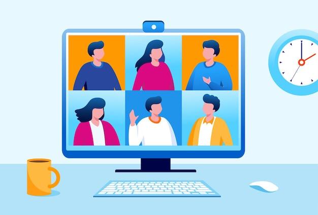 Reunión en línea con ilustración de vector plano de pantalla de computadora para banner y página de destino