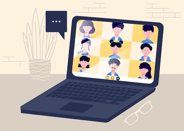 Reunión en línea y trabajo desde casa diseño vectorial hombre y mujer en conferencia de trabajo remoto