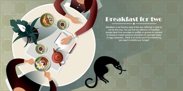 Reunión matutina en un café. ilustración vista superior