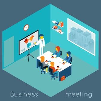 Reunión de negocios 3d isométrica. trabajo en equipo y lluvia de ideas, colaboración y compañero de trabajo, conferencia de proceso