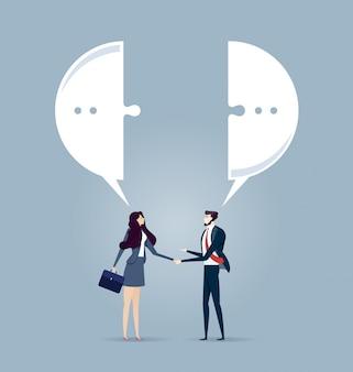 Reunión de negocios con un apretón de manos y bocadillo de diálogo