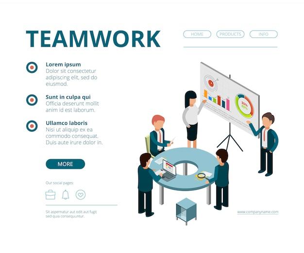 Reunión de negocios de aterrizaje. gerentes de la empresa director financiero consulta gestión vector páginas web plantilla vector isométrico