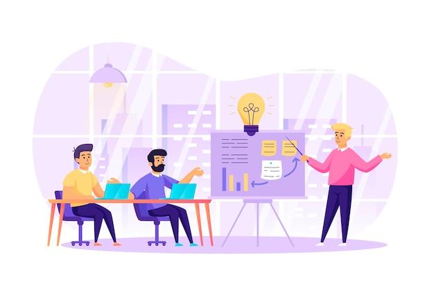 Reunión de negocios y concepto de diseño plano de trabajo en equipo con escena de personajes de personas