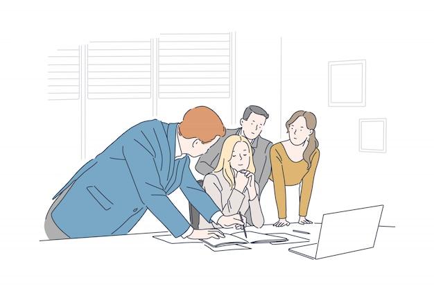 Reunión de negocios, concepto de lluvia de ideas